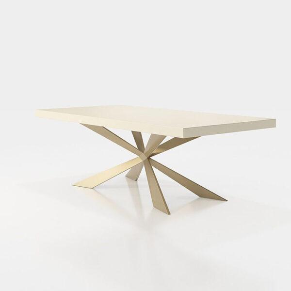 Mesa de comedor 14b-0020 metal dorado y blanco vista técnica