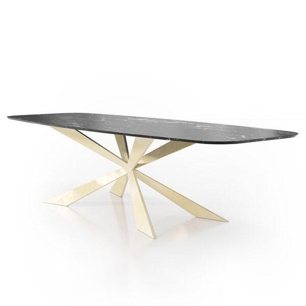 Mesa de comedor 14b-0020 metal dorado y mármol negro vista técnica