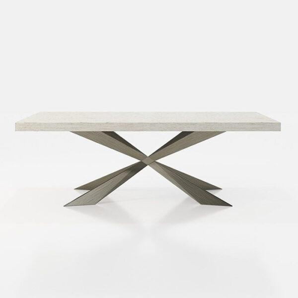 Mesa de comedor 14b-0020 metal gris y madera blanca vista técnica
