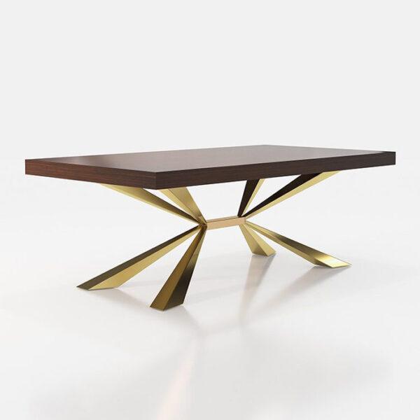 Mesa de comedor 14b-0021 color dorado con madera vista técnica