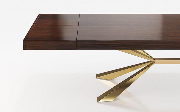Mesa de comedor 14b-0021 color dorado con madera vista técnica de detalle