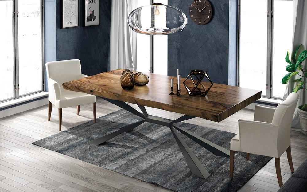 Mesa de comedor 14b-0021 metal negro y madera vista ambiente