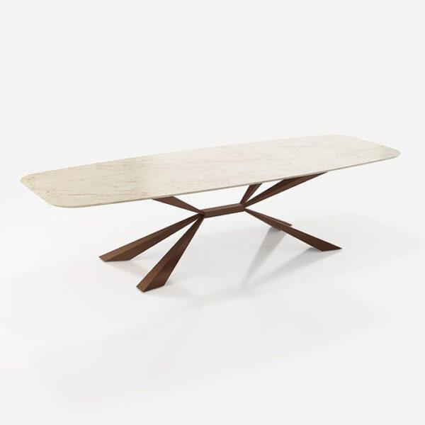 Mesa de comedor 14b-0021 metal y marmol color crema vista técnica