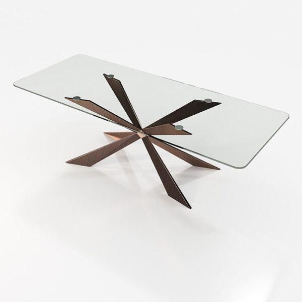 Mesa de comedor 14b-0021 metal y cristal vista técnica