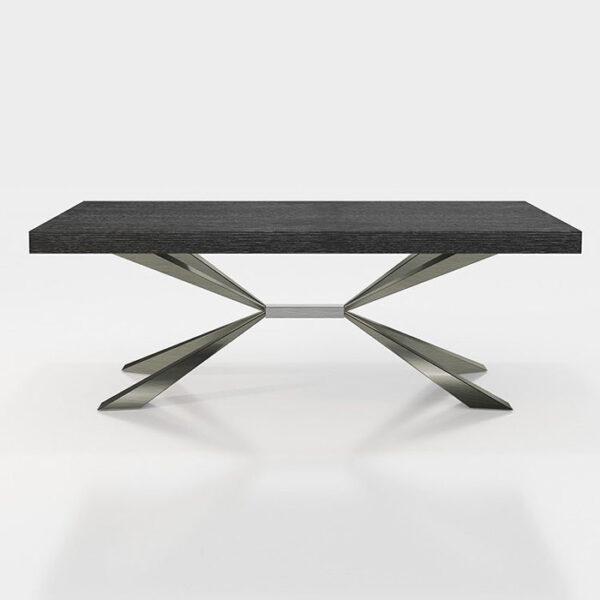 Mesa de comedor 14b-0021 negro y plateado vista técnica