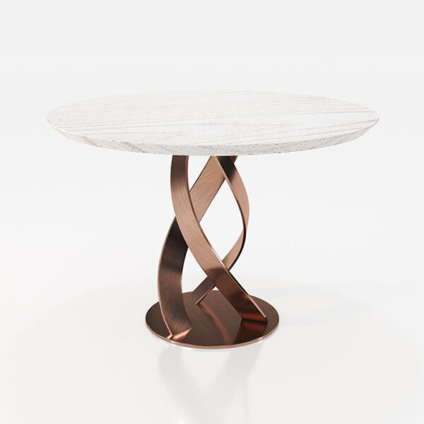 Mesa de comedor redonda 14b-0022 de cobre y madera blanca vista técnica