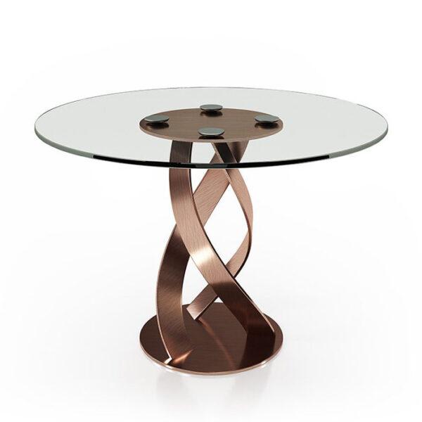 Mesa de comedor redonda 14b-0022 de cobre y cristal vista técnica