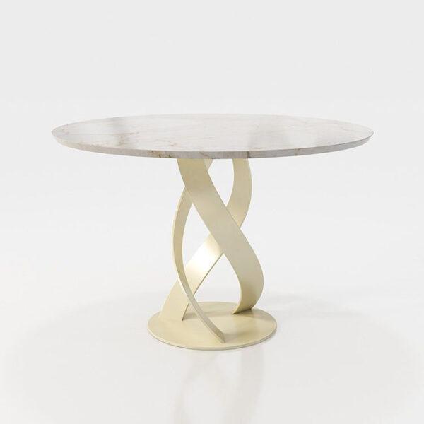 Mesa de comedor redonda 14b-0022 dorado con blanco vista técnica