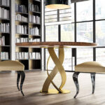 Mesa de comedor redonda 14b-0022 de fresno con dorado vista ambiente