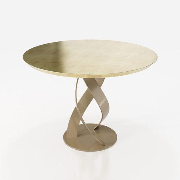 Mesa de comedor redonda 14b-0022 color dorado vista técnica
