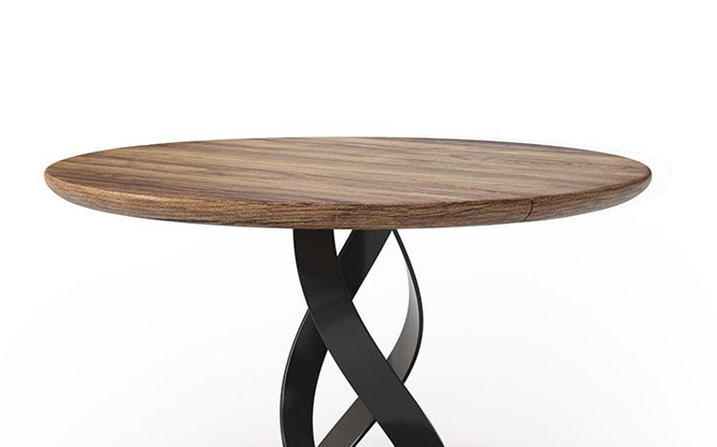 Mesa de comedor redonda 14b-0022 de madera con negro vista de detalle