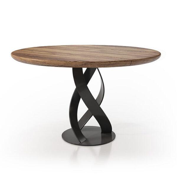 Mesa de comedor redonda 14b-0022 de madera con negro vista técnica