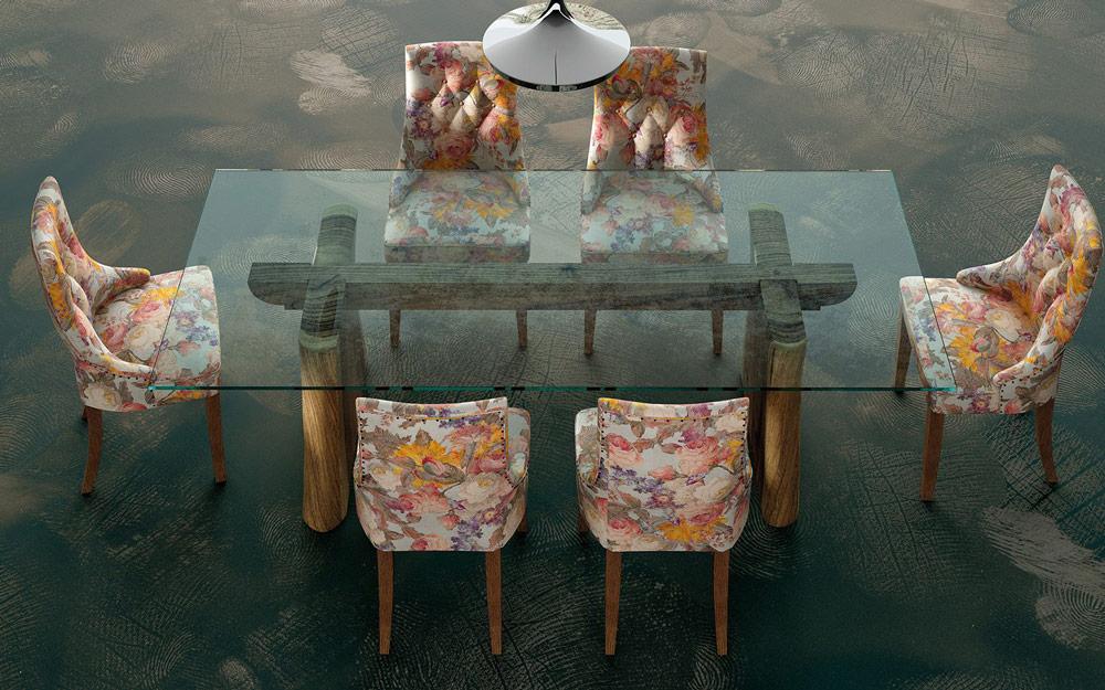 Mesa de comedor 14b-0023 de nogal y cristal vista top