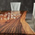 Mesa de comedor 14b-0023 nogal vista de detalle