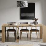 Mesa de comedor extensible 14b-0003 madera vista completa frente
