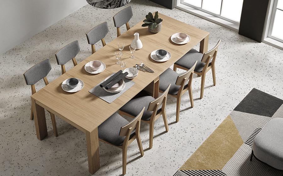 Mesa de comedor extensible 14b-0003 madera vista completa top
