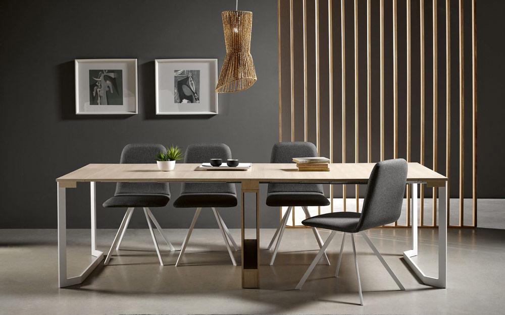 Mesa de comedor extensible 14b-0004 color blanco y madera vista completa frontal