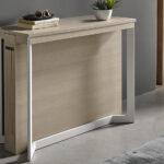 Mesa de comedor extensible 14b-0004 color blanco y madera vista detalle cerrada