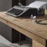 Mesa de comedor extensible 14b-0004 color negro y madera vista detalle