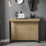 Mesa de comedor extensible 14b-0004 color negro y madera vista detalle cerrada en pared