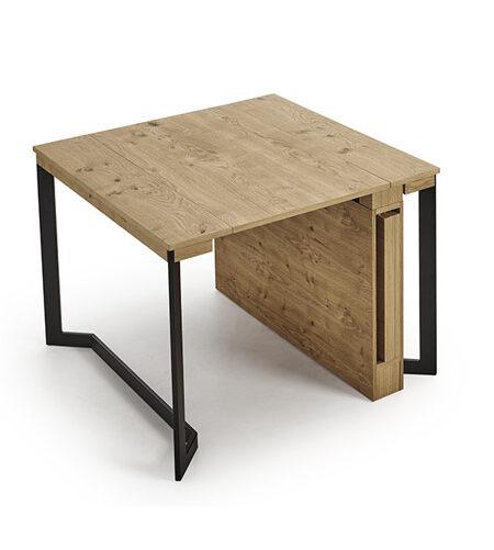 Mesa de comedor extensible 14b-0004 color negro y madera vista técnica