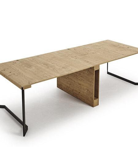 Mesa de comedor extensible 14b-0004 color negro y madera vista técnica abierta completa