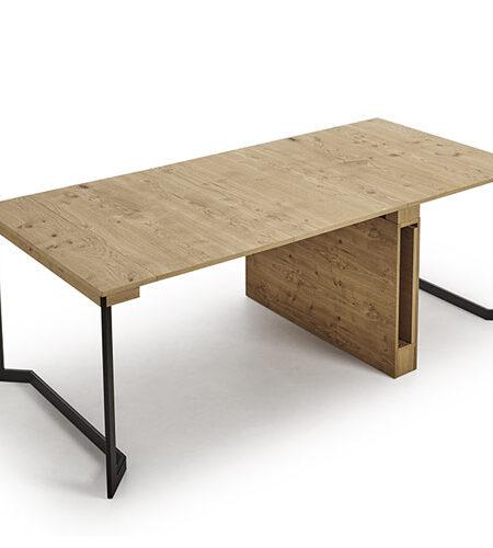 Mesa de comedor extensible 14b-0004 color negro y madera vista técnica abierta extendida