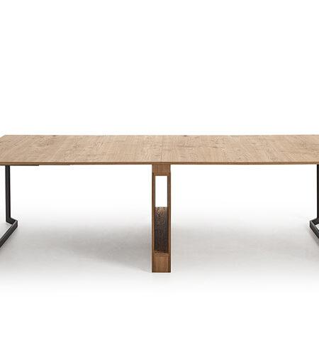 Mesa de comedor extensible 14b-0004 color negro y madera vista técnica abierta