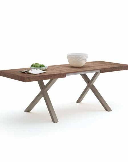 Mesa de comedor extensible con sillas 14b-0006 madera oscura vista técnica