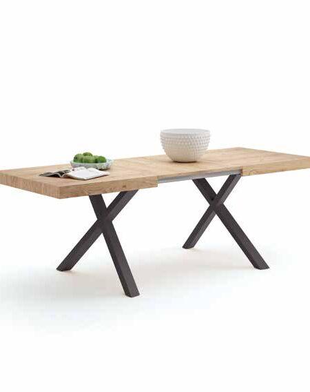 Mesa de comedor extensible 14b-0006 madera natural y patas grafito vista técnica