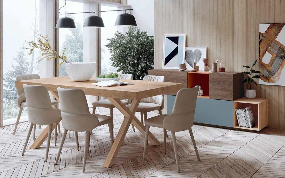 Mesa de comedor extensible con sillas 14b-0006 madera natural vista ambiente