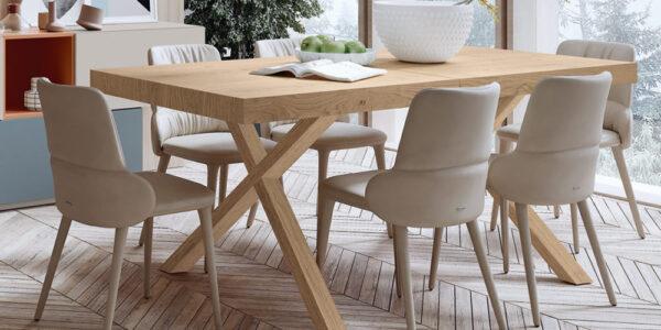Mesa de comedor extensible con sillas 14b-0006 madera natural vista completa