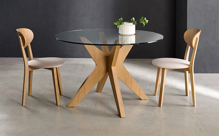 Mesa de comedor redonda 14b-0009 madera y cristal vista ambiente