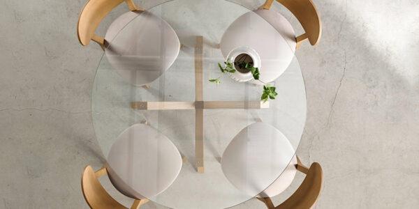 Mesa de comedor redonda 14b-0009 madera y cristal vista ambiente top