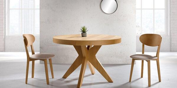 Mesa de comedor redonda 14b-0009 madera vista ambiente
