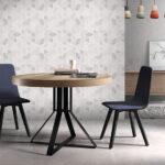 Mesa de comedor redonda extensible 14b-0007 color negro y madera vista ambiente