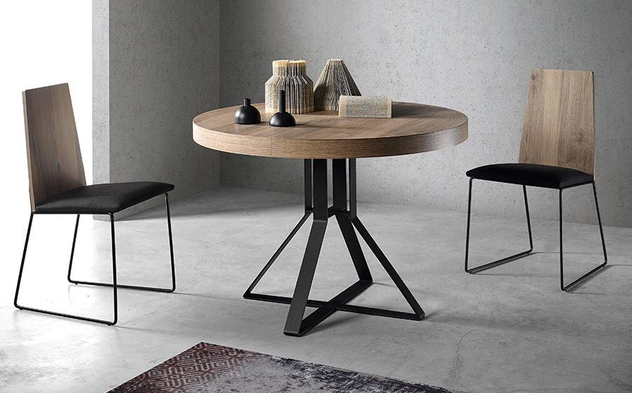 Mesa de comedor redonda extensible 14b-0007 color negro y madera vista completa