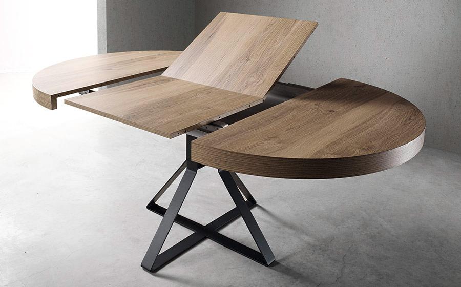 Mesa de comedor extensible 14b-0007 negro y madera vista de detalle extendida