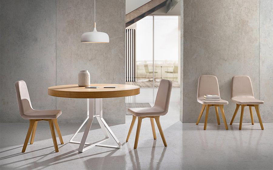 Mesa de comedor redonda extensible 14b-0008 blanco y madera vista ambiente