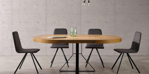 Mesa de comedor redonda extensible 14b-0008 color negro y madera vista abierta