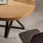 Mesa de comedor redonda extensible 14b-0008 negro y madera vista detalle top