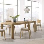 Mesa extensible y sillas de comedor 14b-0024 madera vista ambiente abierta
