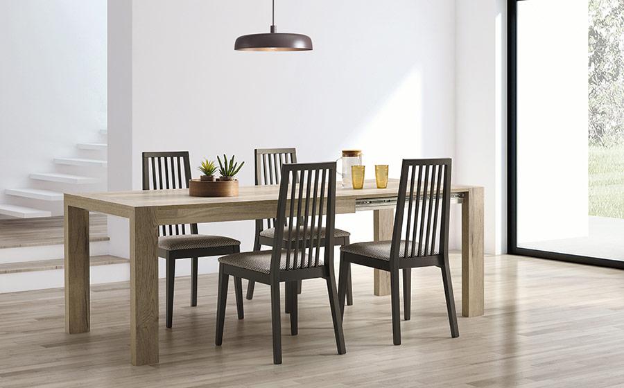 Mesa extensible y sillas de comedor 14b-0025 madera con negro vista ambiente