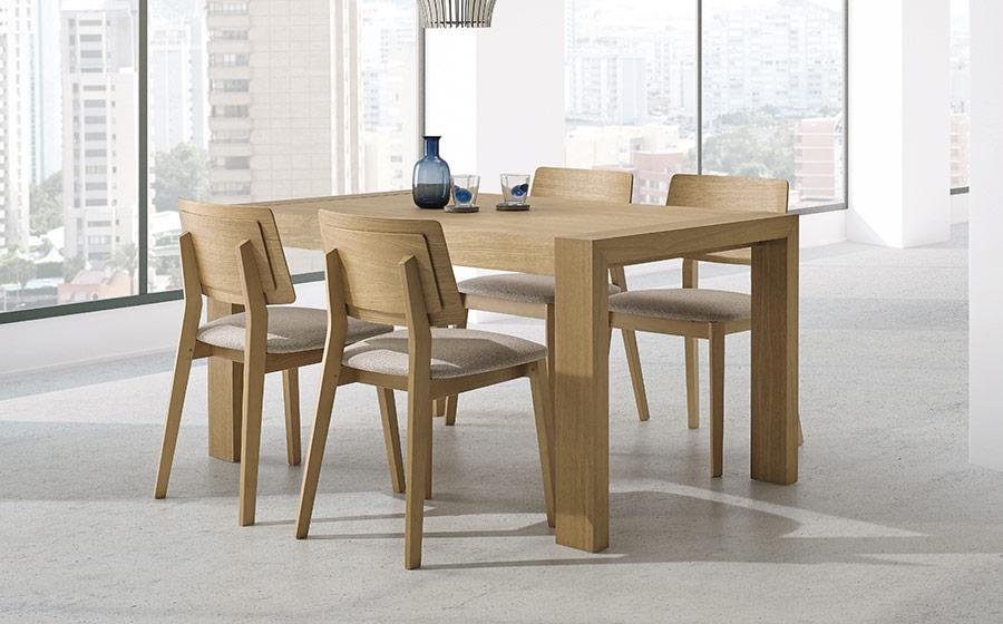 Mesa y sillas de comedor 14b-0024 madera vista ambiente