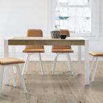 Mesa y sillas de comedor 14b-0026 color blanco y madera vista ambiente frontal