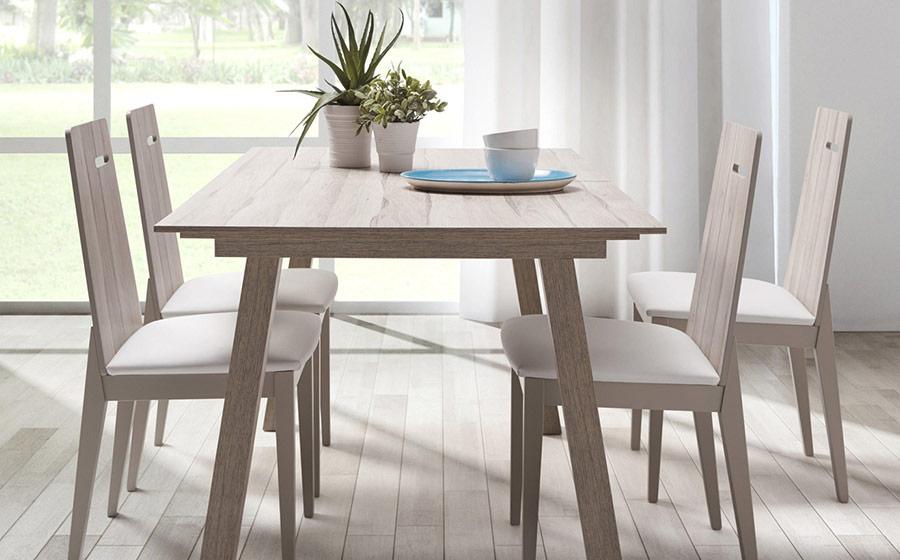 Mesa y sillas de comedor 14b-0027 color blanco y madera vista ambiente lateral