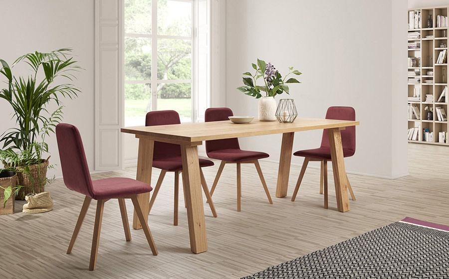 mesas y sillas de comedor 14b-0027 granate y madera vista ambiente