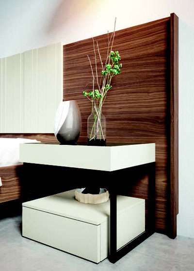 Mesilla y cabecero de dormitorio de matrimonio 11a-0014 color blanco y roble y negro vista de detalle