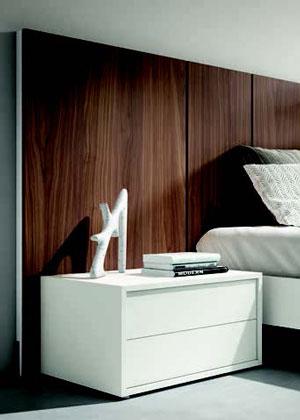 Mesilla y cabecero de dormitorio de matrimonio 11a-0013 color blanco y roble oscuro vista de detalle