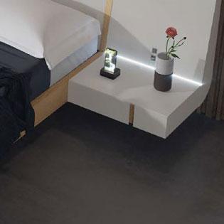 Mesilla en cabecero de dormitorio de matrimonio 11a-0016 blanco y roble vista de detalle